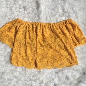 Ambiance Yellow Lace Off The Shoulder Crop Top